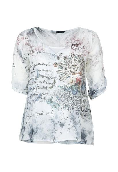 Bluse aus bedrucktem Schleierstoff mit Strass - weiß