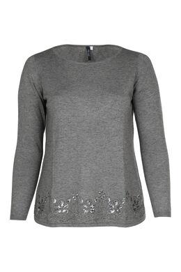 Pullover mit Stickerei und Pailletten, China Grau