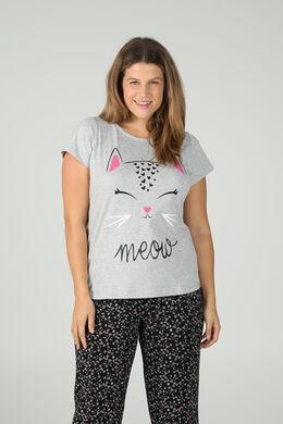 T-Shirt mit Katzenkopf-Print, China Grau