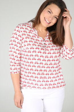 Elastische Bluse mit Flamingo-Print, Rot