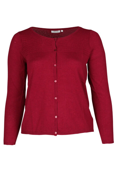 Strick-Cardigan mit Fantasiemuster - Bordeaux