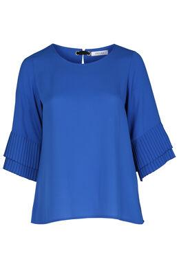 Bluse aus plissiertem Voile, Blau Bic