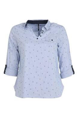 Bluse, bedruckt mit Streifen aus kleinen Herzen, Marine