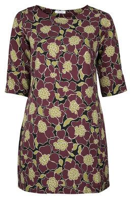 Kleid in entspannter Passform mit Blumen-Print, Pflaume