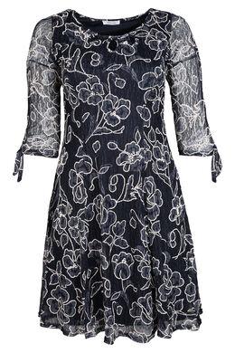 Bedrucktes Kleid mit Strickspitze, Marine