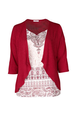 2 in 1-T-Shirt mit Jacke, Bordeaux