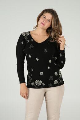 Pullover mit V-Ausschnitt und Blumenaufdruck, Schwarz