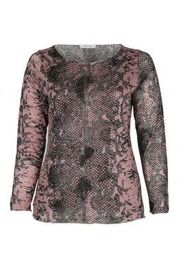 T-Shirt mit Schlangenleder-Print, Alte Rosa