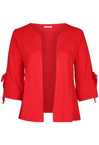 Langärmeliger Cardigan mit Bindedetail - Rot