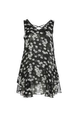 Blumiges Kleid, Schwarz