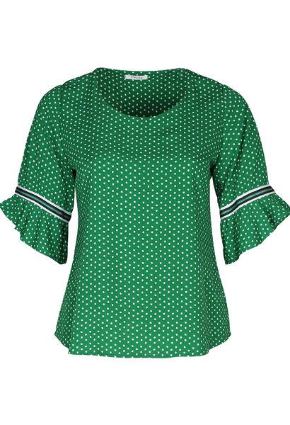 Bluse mit Tupfendruck und Rüschenärmeln - Grün