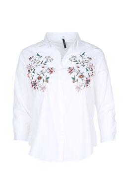 Bluse mit Blumenstickerei, weiß