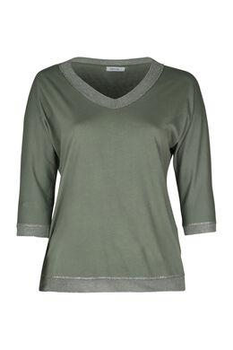 T-Shirt mit Lurexkante am Ausschnitt, Khaki