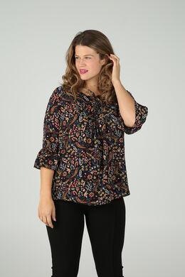 Bluse mit Blumen-Print im Folk-Stil, Multicolor