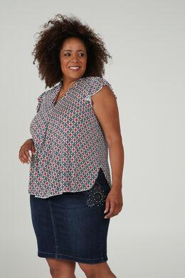 T-Shirt, bedruckt mit einer geometrischen Form, Indigo