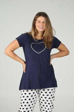 Longshirt mit Paillettenherz-Print, Marine