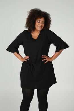 Kleid mit 3/4-Ärmeln und Rüschen, Schwarz