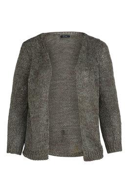 Strick-Cardigan mit Lurex-Faser, Khaki