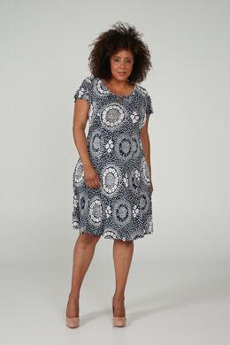 Kleid mit Relief-Blumenaufdruck, Marine