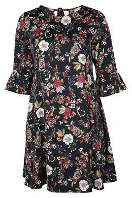 Kleid mit Blumendruck, Schwarz