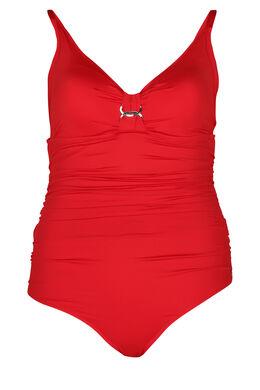 Einfarbiger Badeanzug, Rot