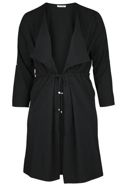 Lange Jacke mit Revers - Schwarz