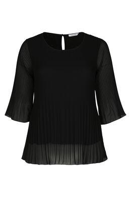 Bluse aus plissiertem Voile, Schwarz