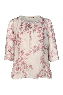 Bluse aus seidigem Material mit Blumen-Print, Beige