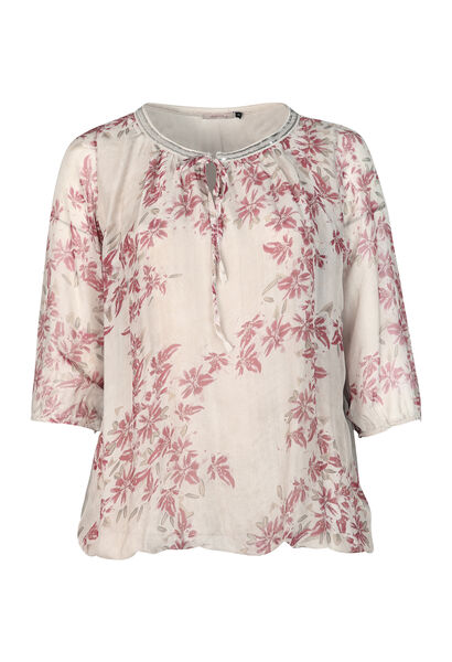 Bluse aus seidigem Material mit Blumen-Print - Beige