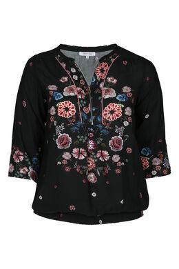 Hemd mit Blumenmuster, Schwarz