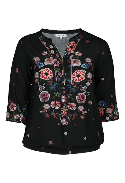 Hemd mit Blumenmuster - Schwarz