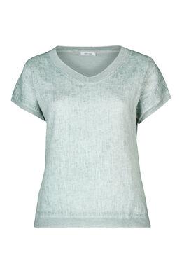 T-Shirt, vorne Leinen, hinten Jersey, Grün Wasser