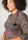 Kleid aus warmem Strick mit Ethno-Print, Multicolor