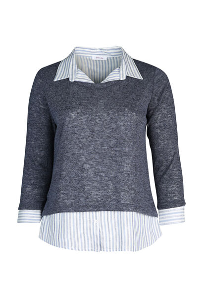 Pullover mit Hemdeinsatz in 2-in-1-Optik - Indigo