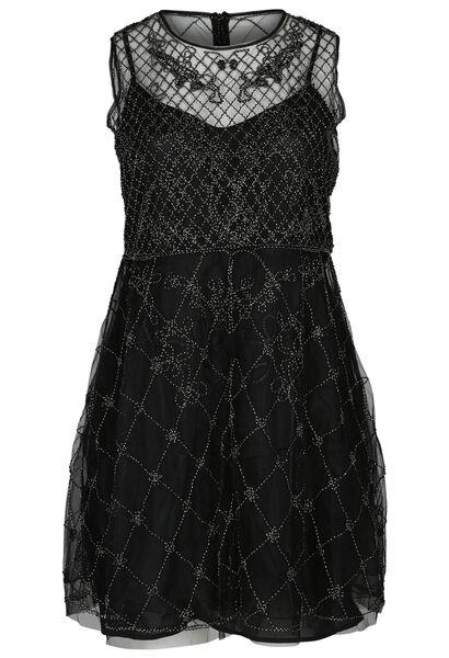 Kleid aus Mesh und Tüll - Schwarz