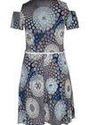 Kleid aus kühlem, bedrucktem Material, Indigo