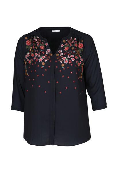 Bluse in Denim-Optik mit Blumen-Print - Marine