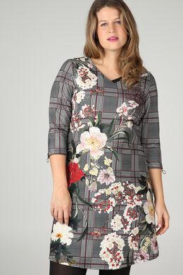 Mit Karos und Blumen bedrucktes Kleid, Schwarz