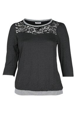T-Shirt mit Tupfendruck und Spitze, Schwarz