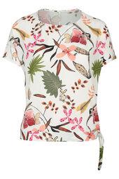 Bluse mit Blumen- und Blattmuster-Print