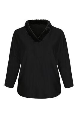 Pullover mit Kunstpelz am Ausschnitt, Schwarz