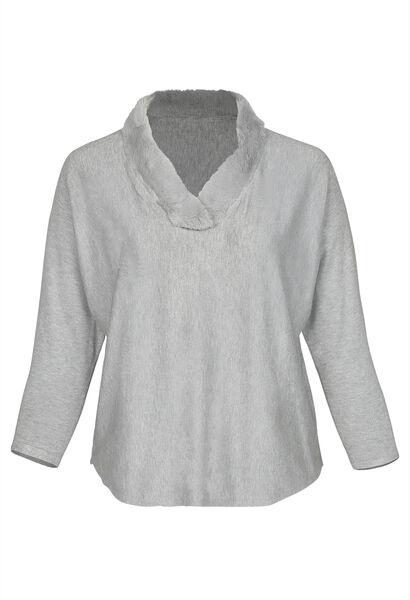 Pullover mit Kunstpelz am Ausschnitt - Grau