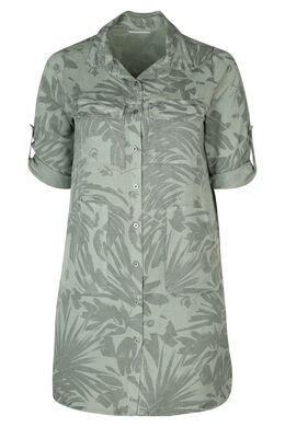 Hemdkleid mit Blattmuster-Print, Khaki