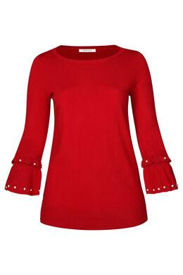Pullover mit Ärmeln mit Rüschen und Perlen, Rot
