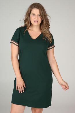Kleid aus Krepp mit Lurex-Streifen, Dunkelgrün grün