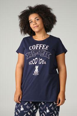 "Pyjama-Shirt ""Coffee is always a good idea"", Marine"