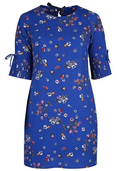 Kleid mit Blumendruck - Blau Bic