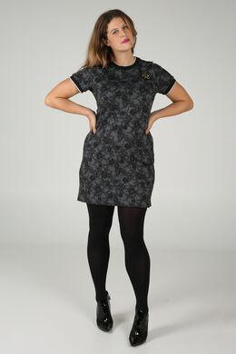 Kleid aus einem blumig bedruckten Jacquard-Gewebe, anthrazit