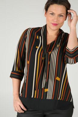 Bedruckte Bluse mit Krawattenschal, ocker