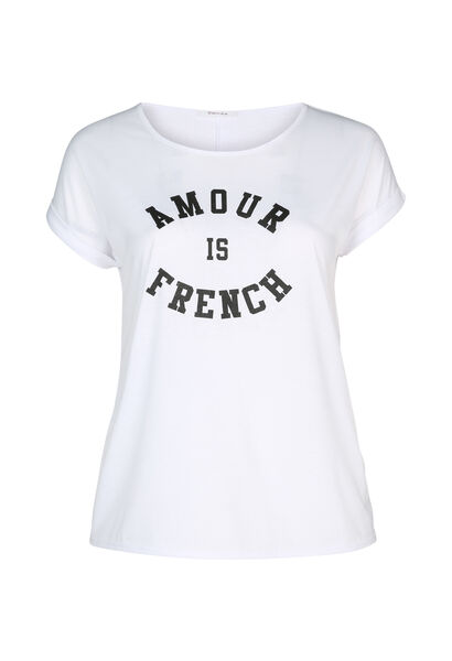 "T-Shirt ""Amour is French"" - weiß"